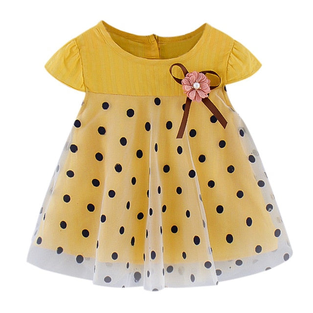 Yellow Baby Girl Dress With Black Dots