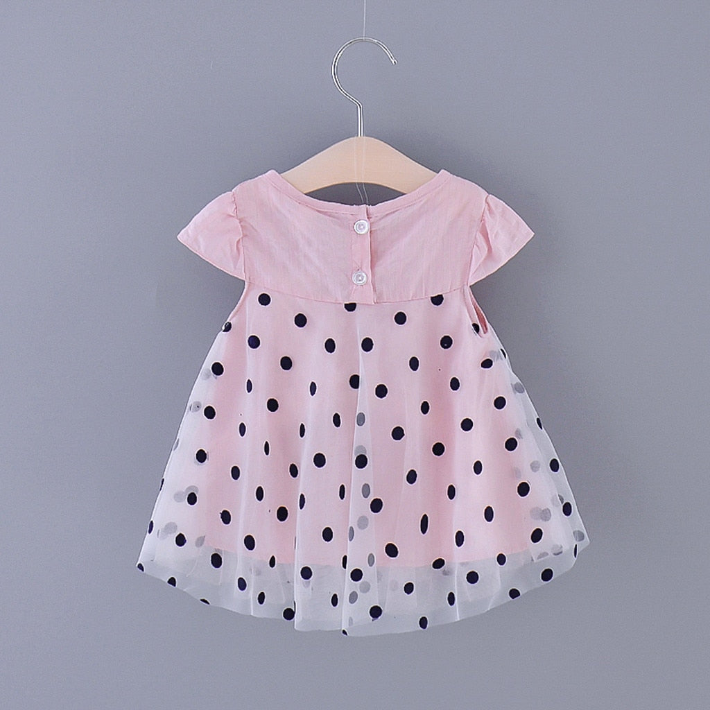 Pink Baby Girl Dress With Black Dots