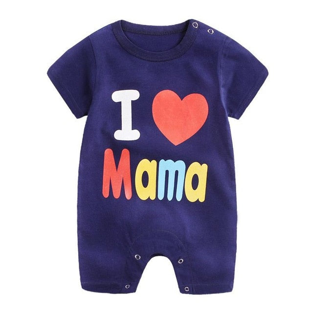 1-piece cotton romper - I love Mama