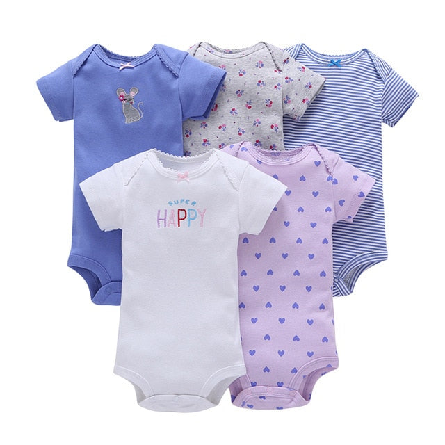 5-pack baby bodysuit set - Isa