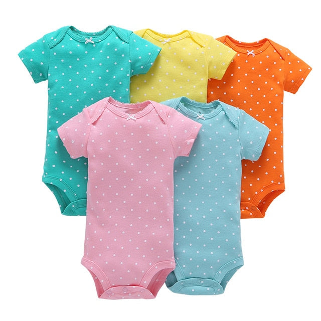 5-pack baby bodysuit set - Dotted