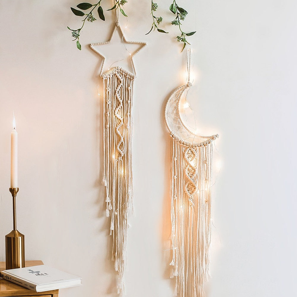 Nordic Macrame & Wall Hanging for Nursery & Kids Room - Star & Moon