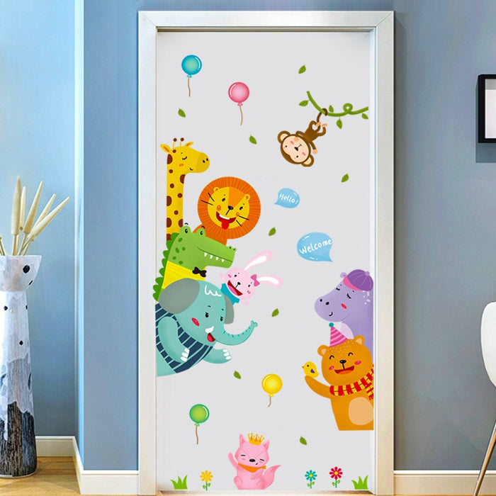 Cute Animals Door Stickers For Kids Room