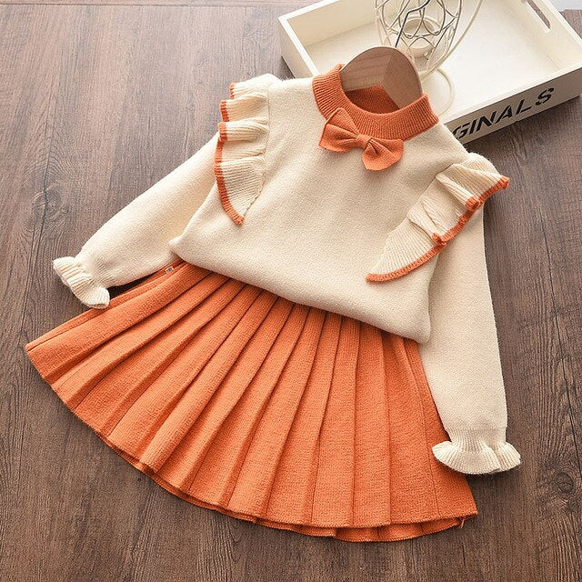 2-piece Sweater with Bow & Skirt for Toddler Girl
