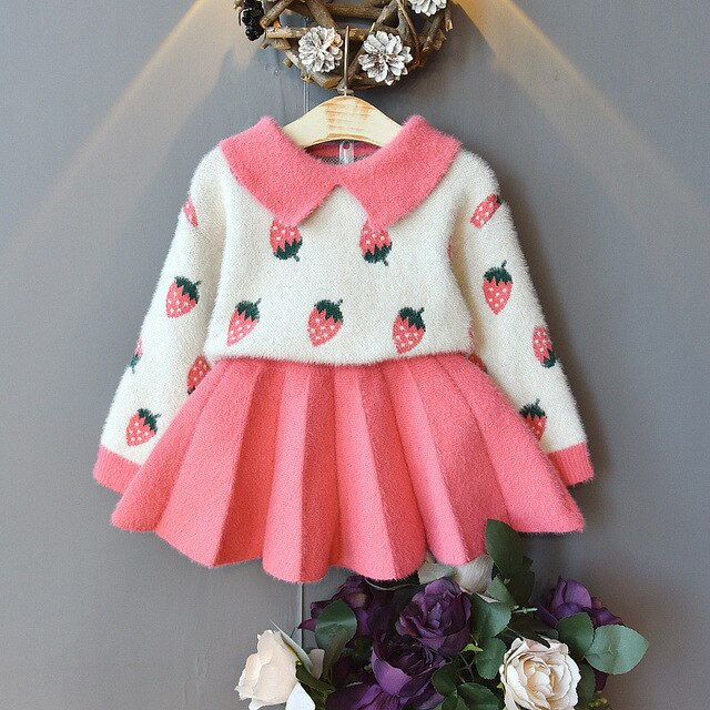 2-piece Fur Sweater with Oversized Collars & Skirt for Toddler Girl