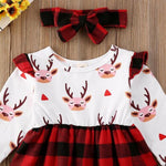 Christmas Long Sleeve Pullover Dress for Baby Girl With Headband