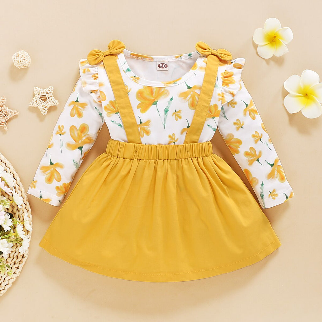 Yellow Floral Long Sleeve Suspender Skirt Outfit