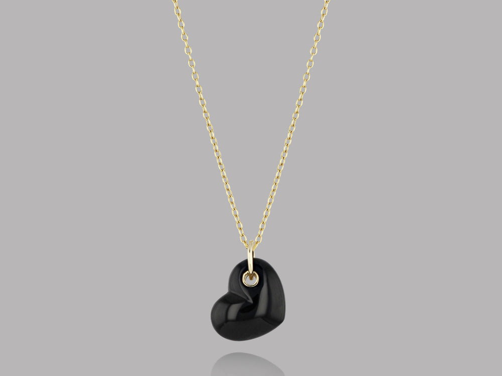 Load image into Gallery viewer, Black Agate Stone Heart Pendant