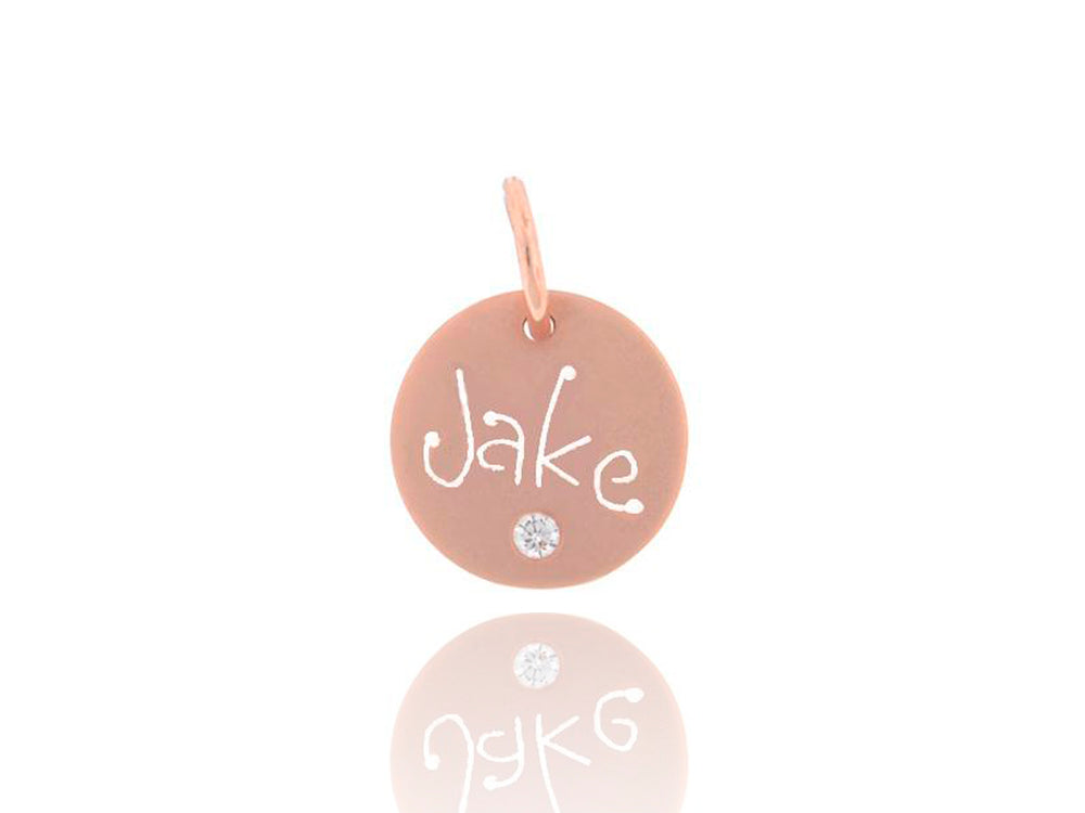 Rose Gold Carved Tag with Diamond