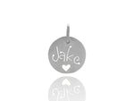 Sterling Silver Carved Tag with Heart