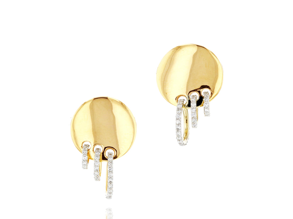 Triple Pierced Loop Stud Earrings