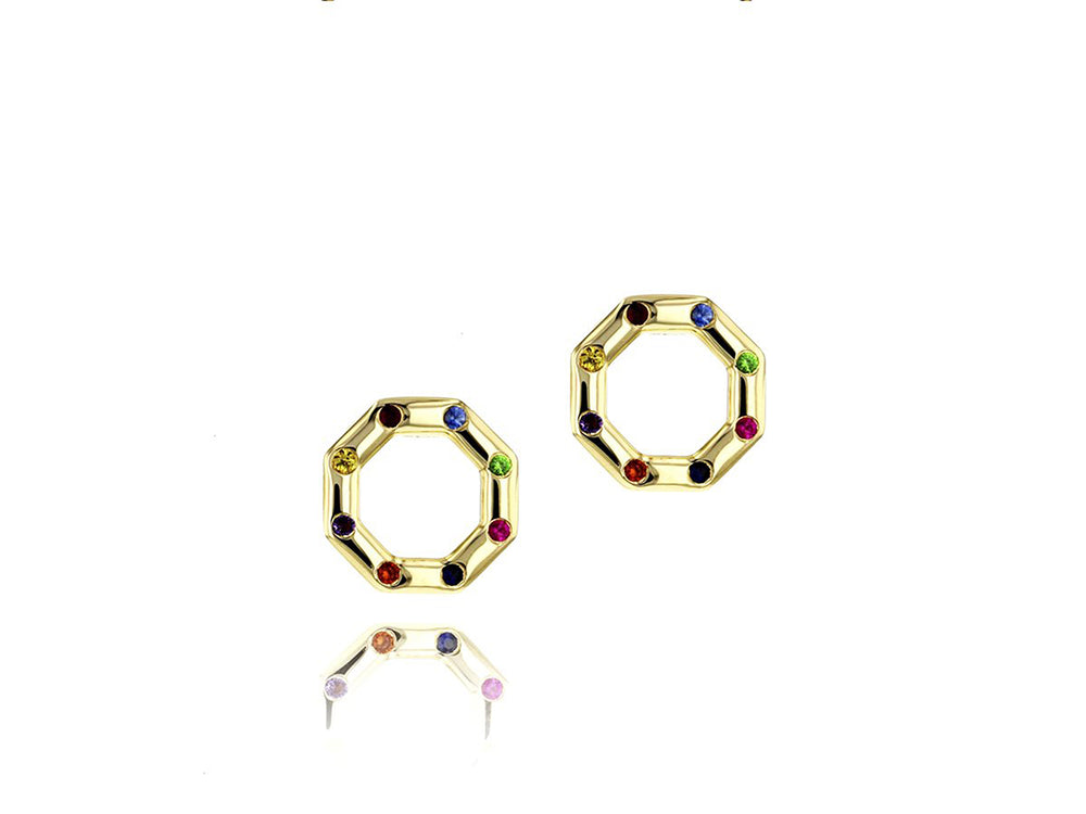 Hero Rainbow Corner Stud Earrings