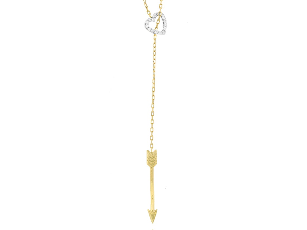 Diamond Heart and Arrow Lariat Necklace