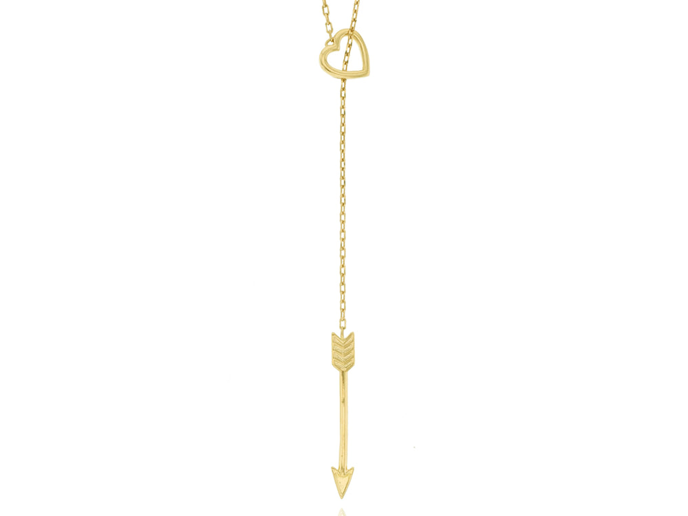 Heart and Arrow Lariat Necklace