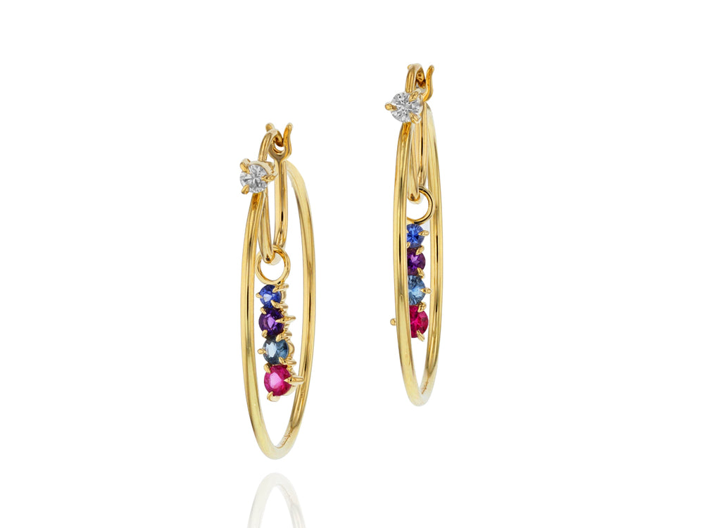 Dusk Enchanted Small Drop Hoop Earrings