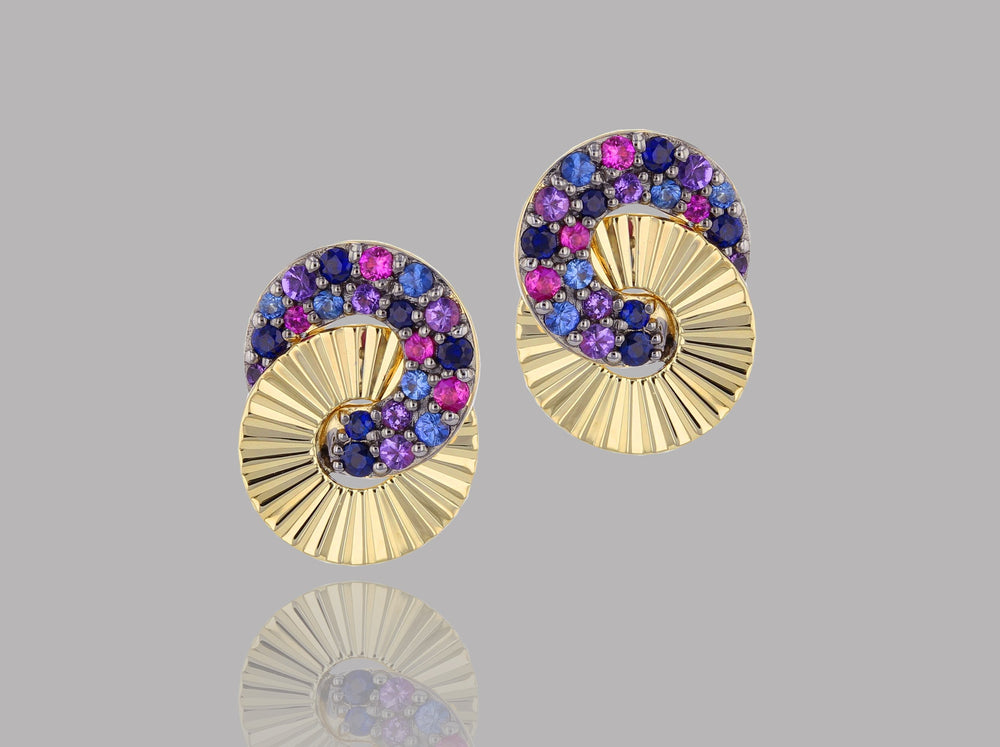 Dusk Mini Interlocking Aura Stud Earrings
