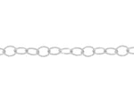 White Gold Oval Link Logo Tag Chain