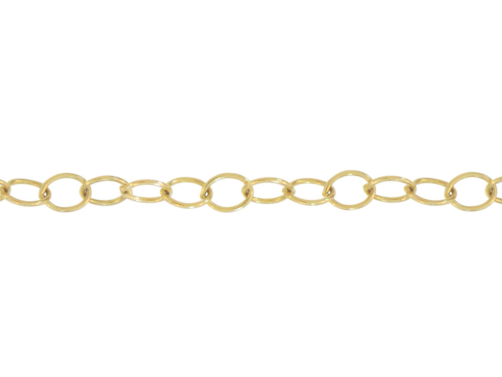Yellow Gold Oval Link Logo Tag Chain
