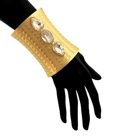 Gold and Crystal Textured Cuff Bracelet