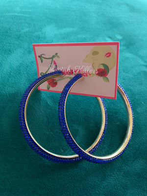 Open image in slideshow, Crystal Gold Hoops