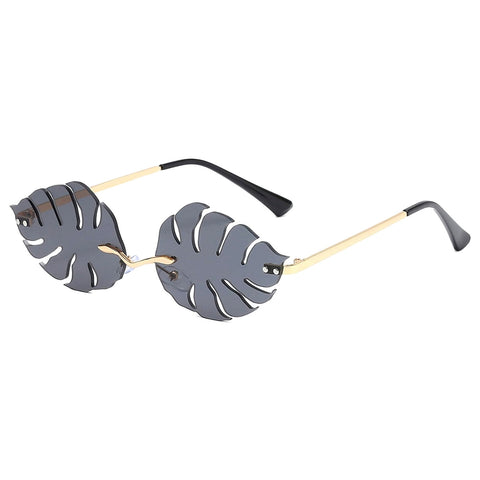 Black Leaf Shape Rimless Sunglasses