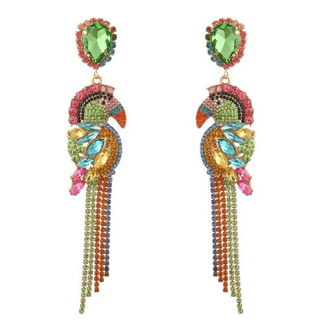 Rhinestone Birdie Chandelier Earrings
