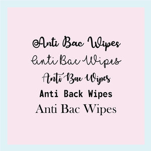 "Single Label: ""Anti-Bac Wipes"""