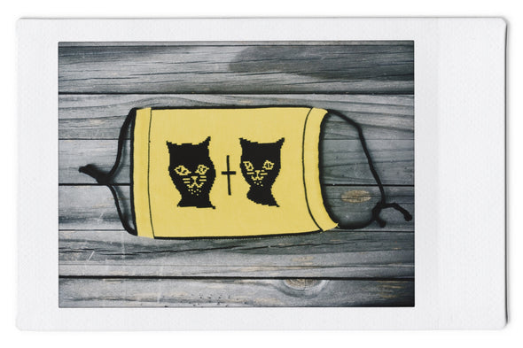 Wild About Mary Blair (W.A.M.B.) Cat - Reversible Knit Face Mask-Blk/Yellow - 3 Pack