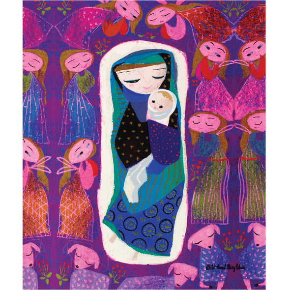 Mary Blair's Purple Madonna Sherpa-Lined Throw