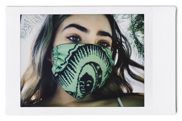 The InBetween LA (t.i.b.) Our Lady of Guadalupe Green/Black art - Reversible Knit Mask - 3 Pack