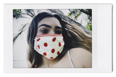 The InBetween LA (t.i.b.) Polka Dots White/Red  - Reversible Knit Mask - 3 Pack