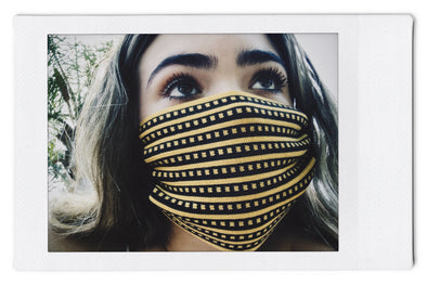The InBetween LA (t.i.b.) Checkered Stripe Yellow/Blk  - Knit Mask - 3 Pack