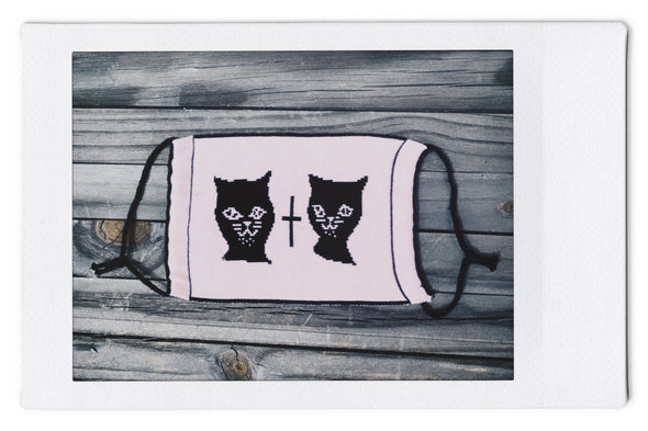 Wild About Mary Blair (W.A.M.B.) Cat - Reversible Knit Face Mask - Blk/Pink - 3 Pack
