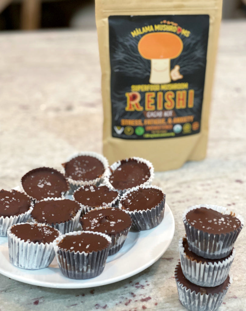 Dark Chocolate Reishi Nut Butter Cups