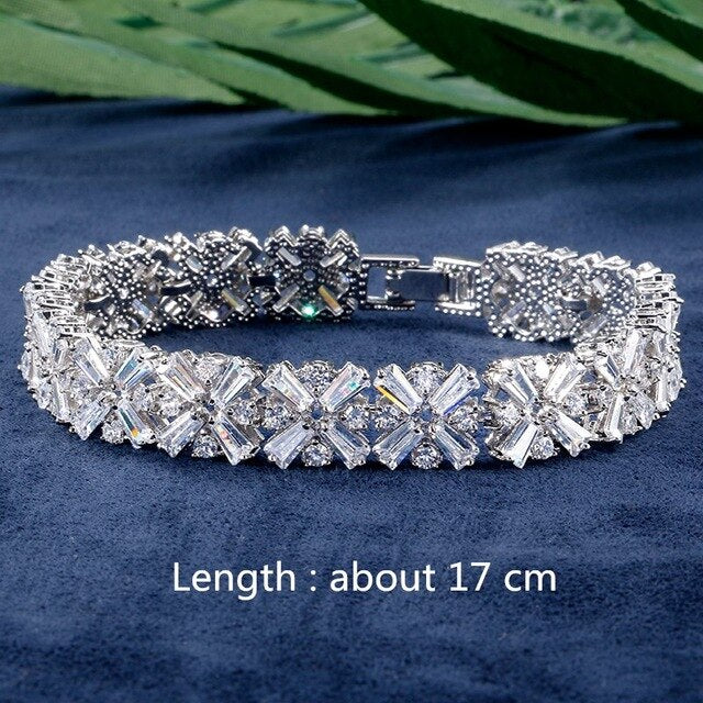Rakol White Gold Color Luxury Bridal Cz Crystal Necklace And