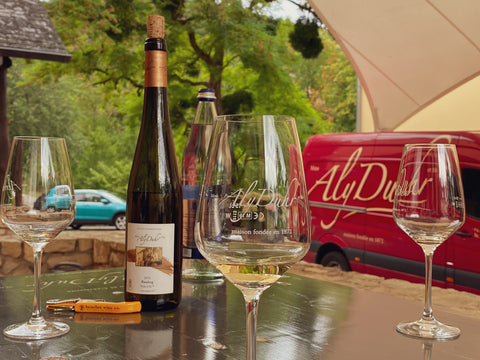 Domaine Mme Aly Duhr et Fils tasting on front patio