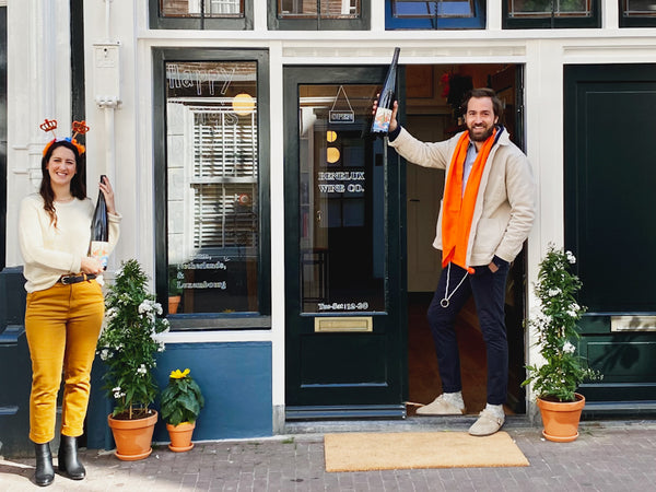 Malory and AJ in front of Benelux Wine Co on Kings Day 2020