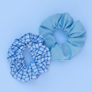 Blue and White Scrunchie Set