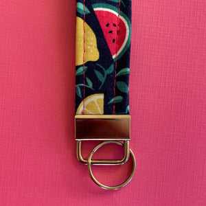 Navy Blue Watermelon and Lemon Key Fob