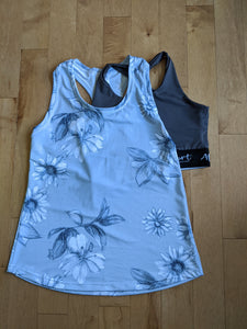 Baggy Racerback - Grey flowers