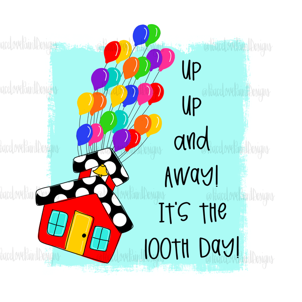 100th Day of School Hand Drawn Sublimation Design-Digital Download-Peace Love Paint Designs
