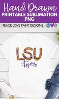 LSU Tiger Stripe Hand Drawn Sublimation Design-Digital Download-Peace Love Paint Designs