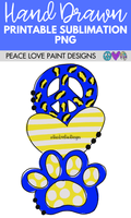 Peace Love Bobcats sublimation design for school spirt tshirts, mugs, flags, and sublimation design projects.