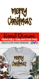 Merry Christmas Gold Glitter Leopard Hand Drawn Sublimation Design-Digital Download-Peace Love Paint Designs