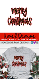 Merry Christmas Leopard with Red Hand Drawn Sublimation Design-Digital Download-Peace Love Paint Designs