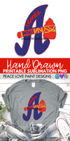 Atlanta Braves Hand Drawn Sublimation Design-Digital Download-Peace Love Paint Designs