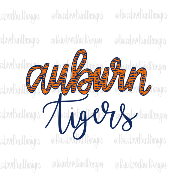 Auburn Tiger Stripe Hand Drawn Sublimation Transfer-Sublimation Transfer-Peace Love Paint Designs