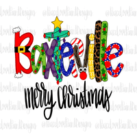 Baxterville Christmas Letters Hand Drawn Sublimation Design-Digital Download-Peace Love Paint Designs