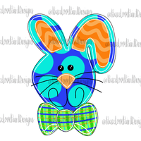 Blue Funky Bunny Hand Drawn Sublimation Design-Digital Download-Peace Love Paint Designs