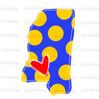 Love Mississippi Blue Gold Hand Drawn Sublimation Design-Digital Download-Peace Love Paint Designs